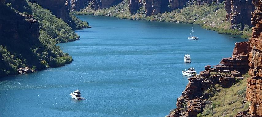 Cruising vessels anchored in the King George River, East Kimberley.