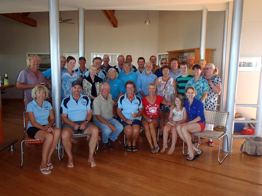 "The whole crew at the Kimberley Coast Cruising Yacht Club's 2014 ""Annual Beach Party"""